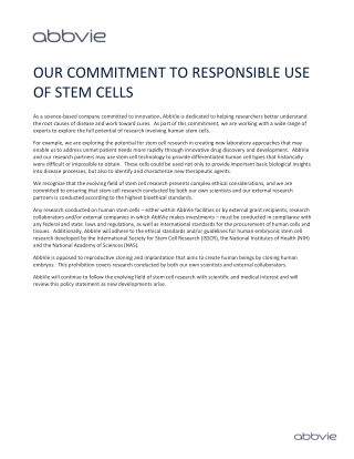 OUR COMMITMENT TO RESPONSIBLE USE OF STEM CELLS