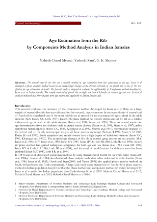 Age Estimation from the Rib by Components Method Analysis in Indian females