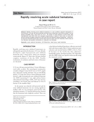 Rapidly resolving acute subdural hematoma. A case report