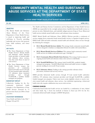 COMMUNITY MENTAL HEALTH AND SUBSTANCE ABUSE SERVICES AT THE DEPARTMENT OF STATE HEALTH SERVICES