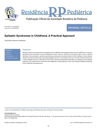 Epileptic Syndromes in Childhood. A Practical Approach