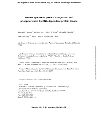 Werner syndrome protein is regulated and phosphorylated by DNA-dependent protein kinase