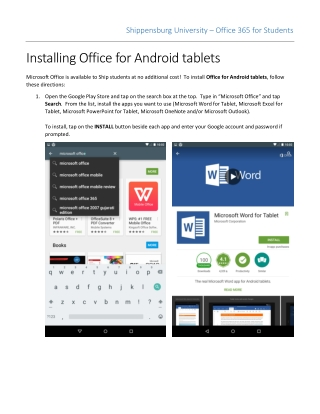 Installing Office for Android tablets