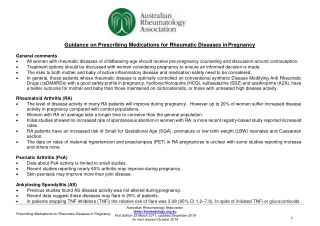 Guidance on Prescribing Medications for Rheumatic Diseases in Pregnancy