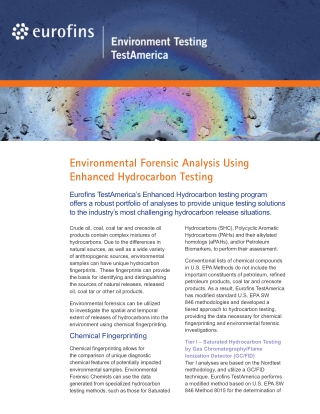 Environmental Forensic Analysis Using Enhanced Hydrocarbon Testing