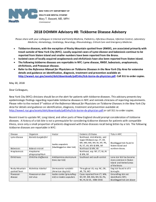 2018 DOHMH Advisory #8: Tickborne Disease Advisory