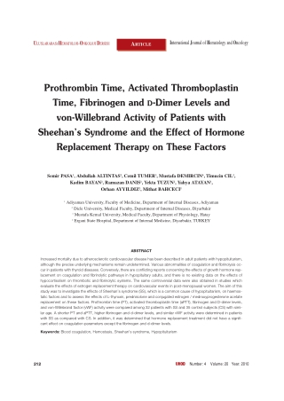Prothrombin Time, Activated Thromboplastin Time, Fibrinogen and