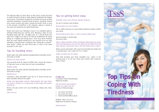 Top Tips On Coping With Tiredness Tiredness