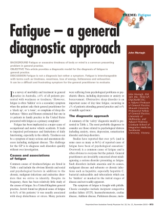Fatigue – a general diagnostic approach