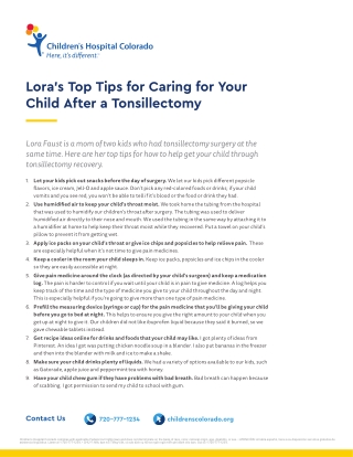 Lora's Top Tips for Caring for Your Child After a Tonsillectomy