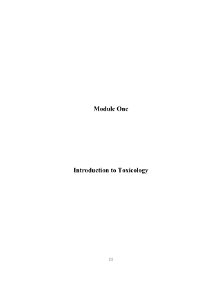 Module One Introduction to Toxicology