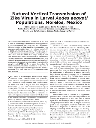 Natural Vertical Transmission of Zika Virus in Larval Aedes aegypti Populations, Morelos, Mexico