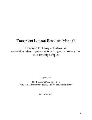 Transplant Liaison Resource Manual:
