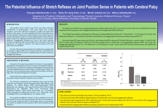 The Potential Influence of Stretch Reflexes on Joint Position Sense in Patients with Cerebral Palsy