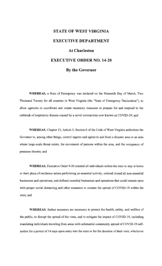 STATE OF WEST VIRGINIA EXECUTIVE DEPARTMENT At Charleston EXECUTIVE ORDER NO. 14-20 By the Governor
