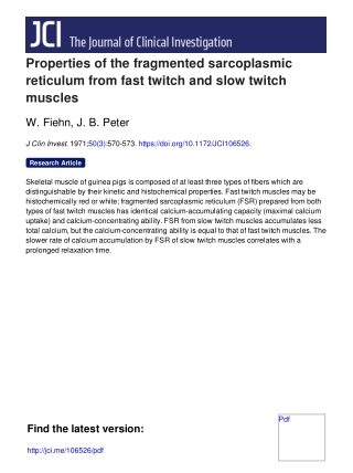 Properties of the fragmented sarcoplasmic reticulum from fast twitch and slow twitch muscles