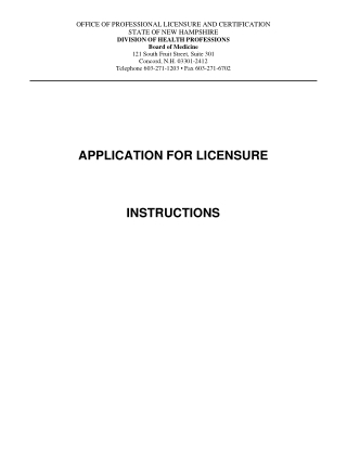 APPLICATION FOR LICENSURE INSTRUCTIONS