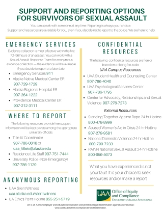 SUPPORT AND REPORTING OPTIONS FOR SURVIVORS OF SEXUAL ASSAULT