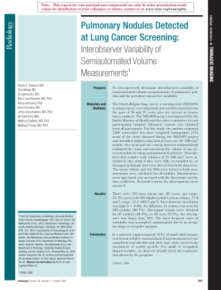 Pulmonary Nodules Detected at Lung Cancer Screening: