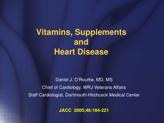 Vitamins, Supplements and Heart Disease