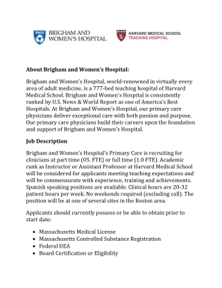 About Brigham and Women's Hospital: