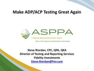Make ADP/ACP Testing Great Again