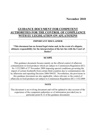 November 2010 GUIDANCE DOCUMENT FOR COMPETENT AUTHORITIES FOR THE CONTROL OF COMPLIANCE WITH EU LEGISLATION ON AFLATOXINS