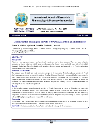International Journal of Research in Pharmacology & Pharmacotherapeutics
