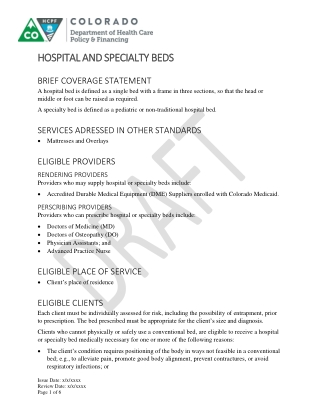 HOSPITAL AND SPECIAL HOSPITAL AND SPECIALTY BEDS TY BEDS