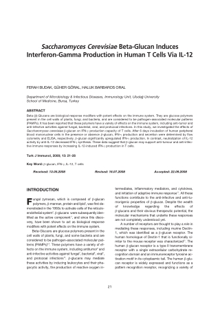Saccharomyces Cerevisiae Beta-Glucan Induces Interferon-Gamma Production in Human T Cells Via IL-12
