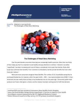 The Challenges of Retail Berry Marketing The Challenges of Retail Berry Marketing