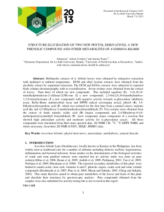 STRUCTURE ELUCIDATION OF TWO NEW PHYTOL DERIVATIVES, A NEW PHENOLIC COMPOUND AND OTHER METABOLITES OF