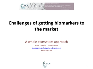 Challenges of getting biomarkers to the market