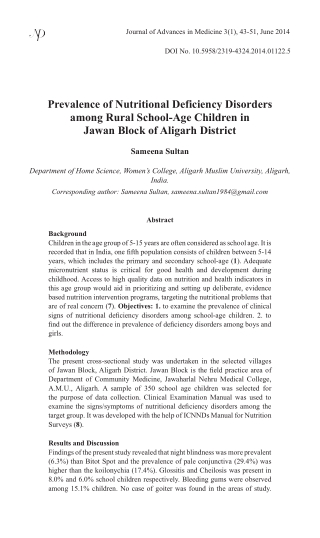 Prevalence of Nutritional Deficiency Disorders among Rural School-Age Children in Jawan Block of Aligarh District