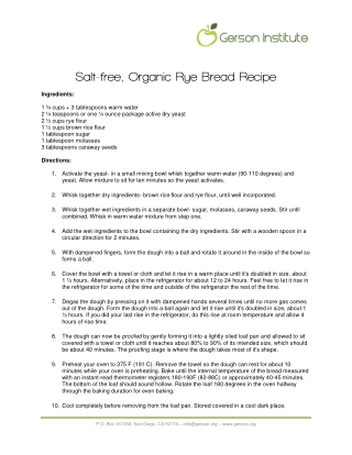 Salt-free, Organic Rye Bread Recipe