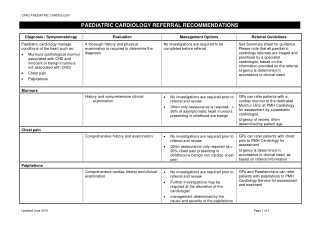 PAEDIATRIC CARDIOLOGY REFERRAL RECOMMENDATIONS
