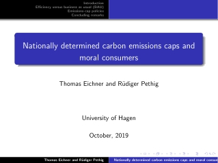 Nationally determined carbon emissions caps and moral consumers