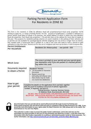Parking Permit Application Form For Residents in ZONE B2
