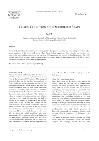 CHAOS,COGNITION AND DISORDERED BRAIN