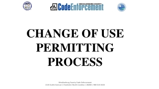 CHANGE OF USE PERMITTING PROCESS
