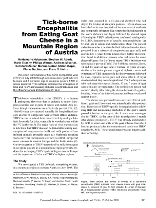 Tick-borne Encephalitis from Eating Goat Cheese in a Mountain Region of Austria