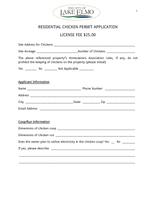 RESIDENTIAL CHICKEN PERMIT APPLICATION LICENSE FEE $25.00