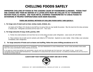 CHILLING FOODS SAFELY