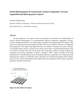 Partial Hydrogenation of Unsaturated Carbonyl Compounds: Towards Ligand-Directed Heterogeneous Catalysis