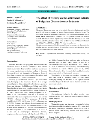 The effect of freezing on the antioxidant activity of Bulgarian