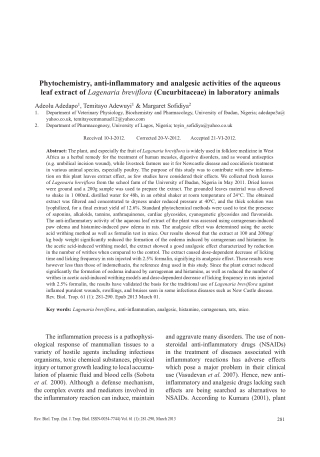 Phytochemistry, anti-inflammatory and analgesic activities of the aqueous leaf extract of