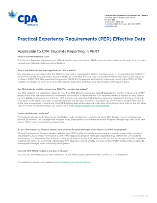Practical Experience Requirements (PER) Effective Date