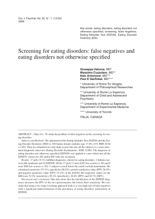 Screening for eating disorders: false negatives and eating disorders not otherwise specified