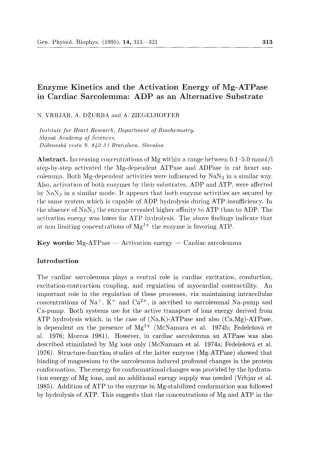 Enzyme Kinetics and the Activation Energy of Mg-ATPase in Cardiac Sarcolemma: ADP as an Alternative Substrate