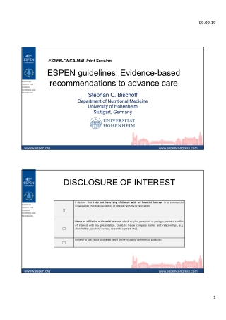ESPEN guidelines: Evidence-based recommendations to advance care